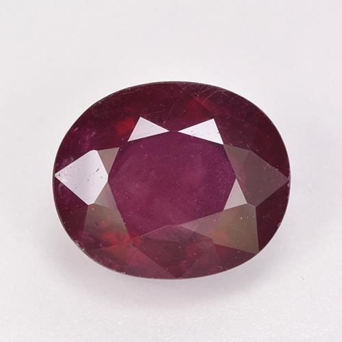 Pinkish Red Ruby Gem - 6.6ct Oval Facet (ID: 520351)