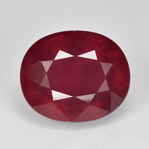 Pinkish Red Ruby Gem - 8.4ct Oval Facet (ID: 520352)