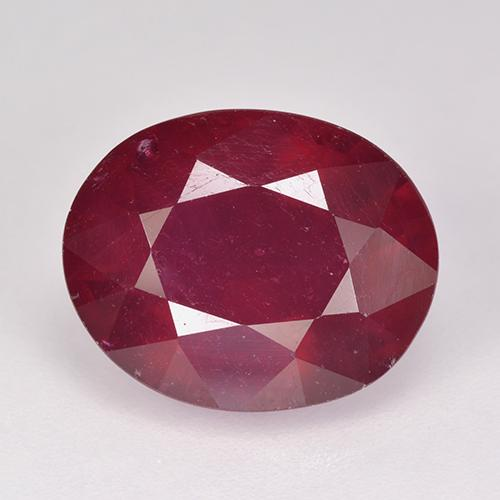 Pinkish Red Ruby Gem - 7.4ct Oval Facet (ID: 520353)
