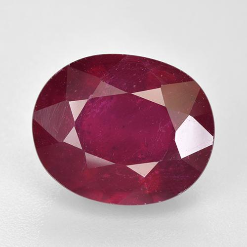 Pinkish Red Ruby Gem - 7.7ct Oval Facet (ID: 520355)