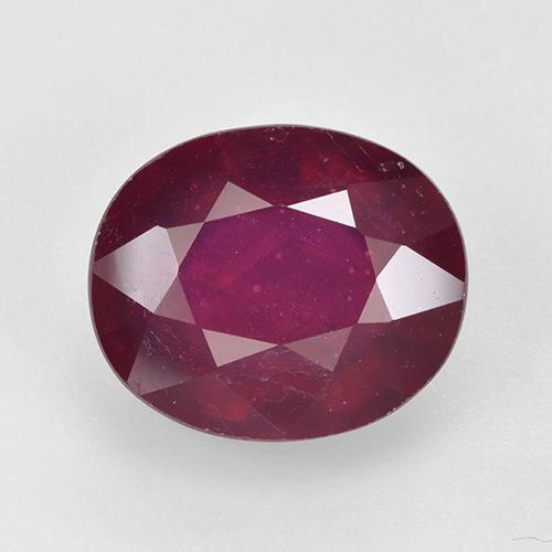 Dark Red Ruby Gem - 6.4ct Oval Facet (ID: 520357)