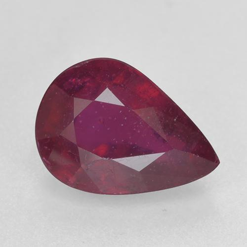 Pinkish Red Ruby Gem - 1.4ct Pear Facet (ID: 520364)