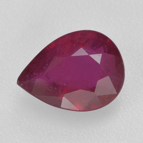 Pinkish Red Ruby Gem - 1.3ct Pear Facet (ID: 520365)