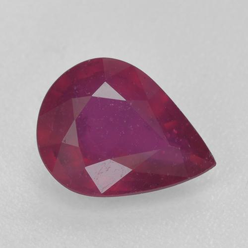 Pinkish Red Ruby Gem - 1.2ct Pear Facet (ID: 520367)