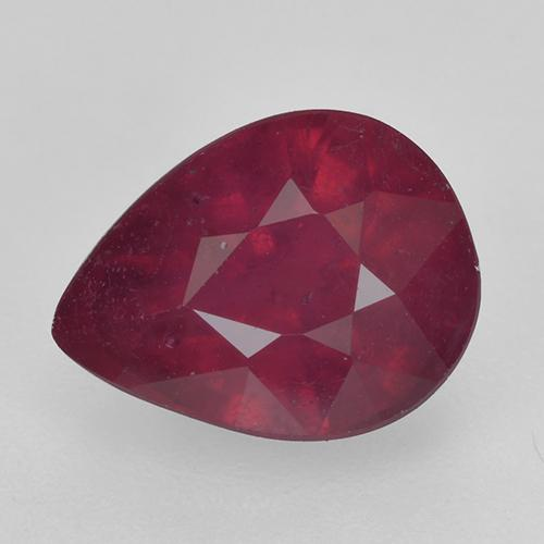 Pinkish Red Ruby Gem - 1.8ct Pear Facet (ID: 520368)