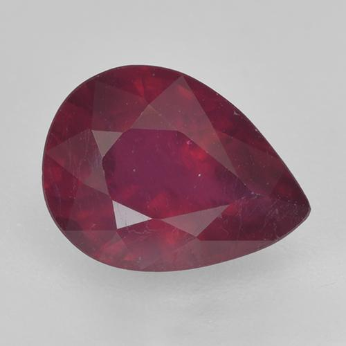 Pinkish Red Ruby Gem - 1.5ct Pear Facet (ID: 520369)