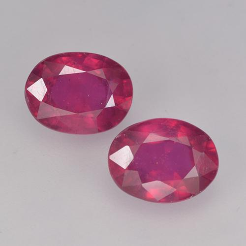 Pinkish Red Ruby Gem - 1.7ct Oval Facet (ID: 524886)