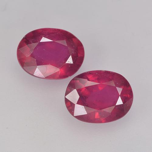 Pinkish Red Ruby Gem - 1.7ct Oval Facet (ID: 524887)