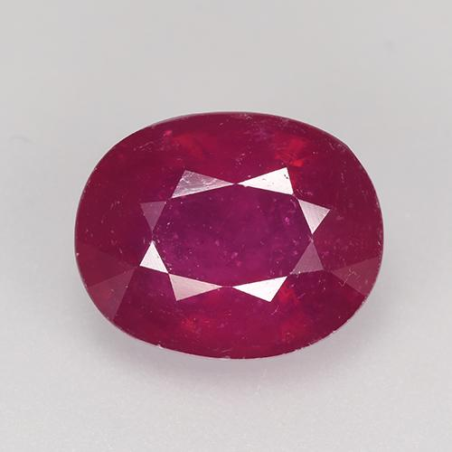 Pinkish Red Ruby Gem - 5.6ct Oval Facet (ID: 527144)