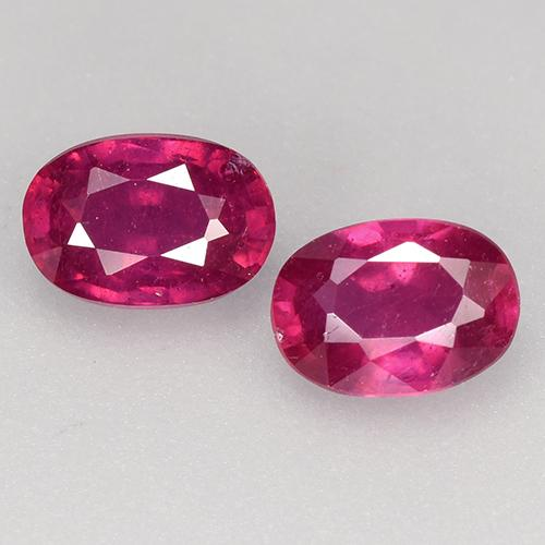 Light Red Ruby Gem - 0.7ct Oval Facet (ID: 527266)