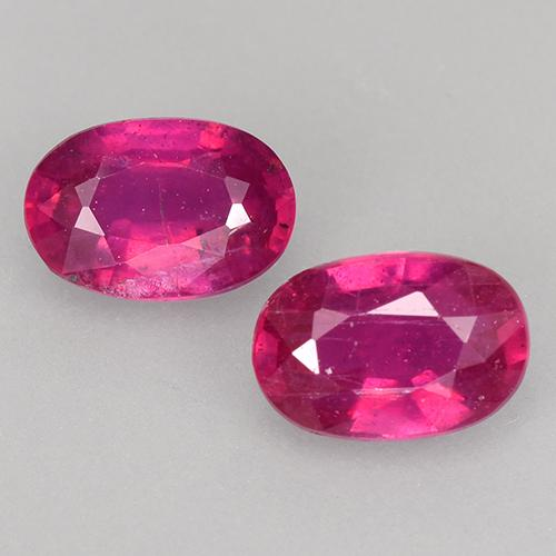 Light Red Ruby Gem - 0.7ct Oval Facet (ID: 528077)