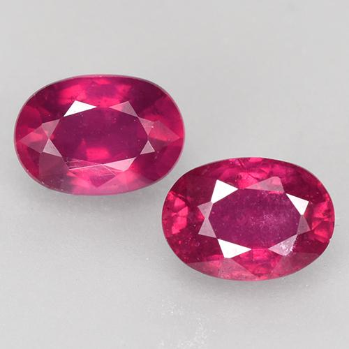 Pinkish Red Ruby Gem - 0.8ct Oval Facet (ID: 528081)