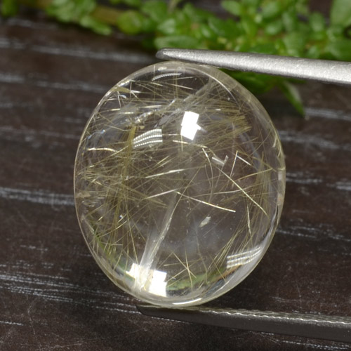 Colorless Golden Rutile Quartz Gem - 11.8ct Oval Cabochon (ID: 307416)