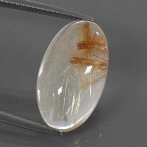Colorless Golden Rutile Quartz Gem - 11.1ct Oval Cabochon (ID: 326387)