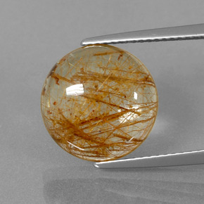 6.4ct Rund Cabochon Light Tawny Brown Rutilquarz Edelstein (ID: 395537)