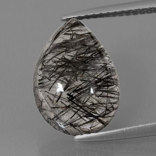Colorless with Black Rutile Quartz Gem - 5.3ct Pear Cabochon (ID: 402984)