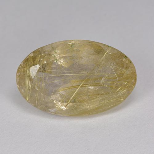 9.05 ct Oval Facet Very Light Golden-Brown Rutile Quartz Gemstone 17.05 mm x 10.9 mm (Product ID: 403528)
