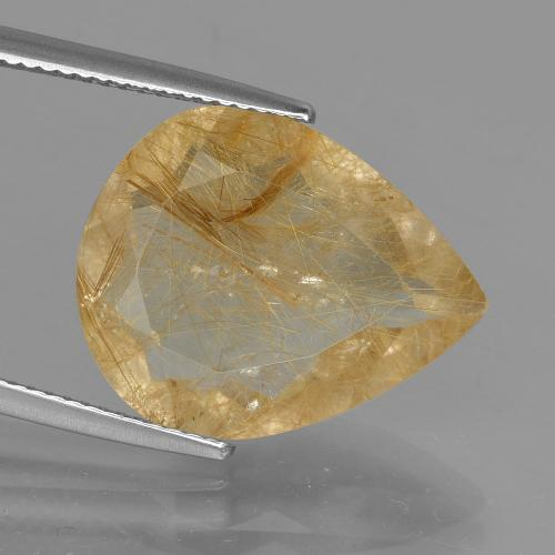 9.90 ct Poire facette Light Gold Quartz Rutile gemme 18.60 mm x 15 mm (Photo A)