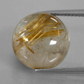 Colorless Golden Rutile Quartz Gem - 10.5ct Round Cabochon (ID: 403588)