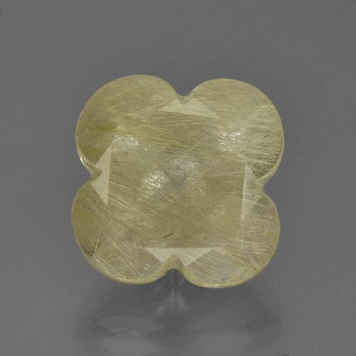 Colorless Golden Rutile Quartz Gem - 12ct Flower-Cut (ID: 403664)