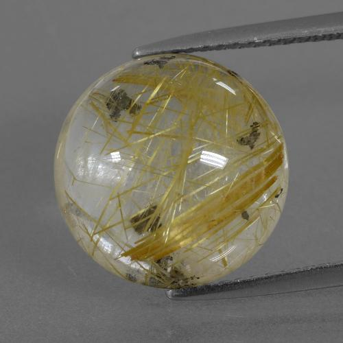 8.9ct Round Cabochon Very Light Golden-Brown Rutile Quartz Gem (ID: 403684)