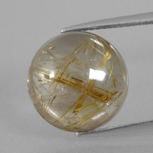 8.59 ct Round Cabochon Very Light Golden-Brown Rutile Quartz Gemstone 13.07 mm  (Product ID: 404073)