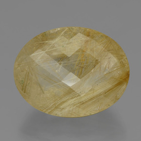 66.6ct Oval Checkerboard Colorless Golden Rutile Quartz Gem (ID: 404354)