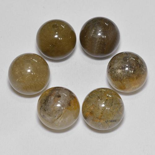 3.6ct Drilled Sphere Multicolor Rutile Quartz Gem (ID: 423025)