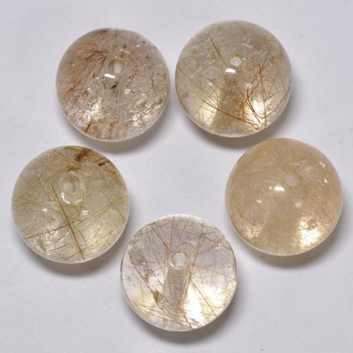 Red Brown Rutile Quartz Gem - 7.4ct Drilled Sphere (ID: 423104)