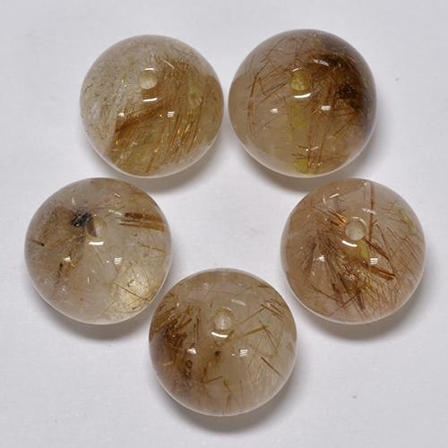 5.1ct Drilled Sphere Red Brown Rutile Quartz Gem (ID: 423105)