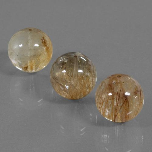 Colorless with Brown Rutile Quartz Gem - 19.7ct Drilled Sphere (ID: 423123)