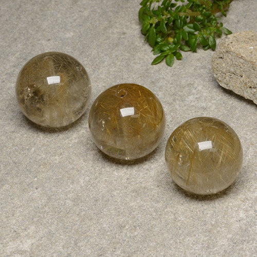 Colorless with Brown Rutile Quartz Gem - 18.6ct Drilled Sphere (ID: 423124)