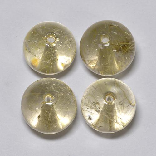 Colorless with Golden Rutile Quartz Gem - 6.3ct Drilled Sphere (ID: 423423)