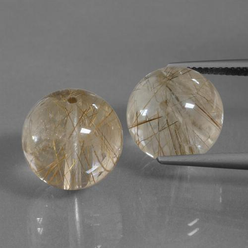 Colorless with Brown Rutile Quartz Gem - 16.7ct Drilled Sphere (ID: 434804)