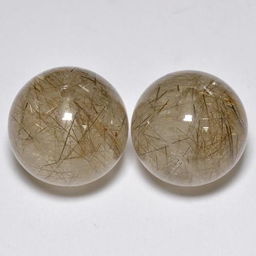 Colorless Golden Rutile Quartz Gem - 8.2ct Drilled Sphere (ID: 434892)
