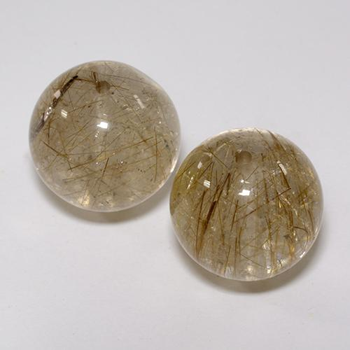 Colorless with Golden Rutile Quartz Gem - 14.3ct Drilled Sphere (ID: 435021)