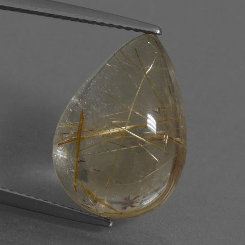 Colorless Golden Rutile Quartz Gem - 11.9ct Pear Cabochon (ID: 435562)