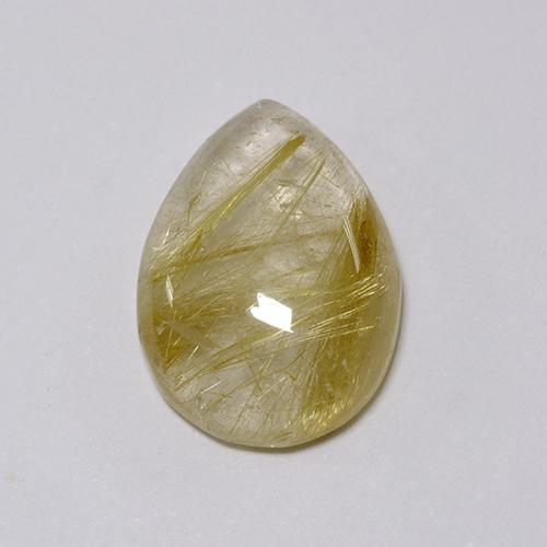 Colorless with Golden Rutile Quartz Gem - 7.6ct Pear Cabochon (ID: 435743)