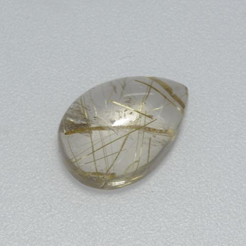 Colorless with Green Rutile Quartz Gem - 2.8ct Pear Cabochon (ID: 436510)