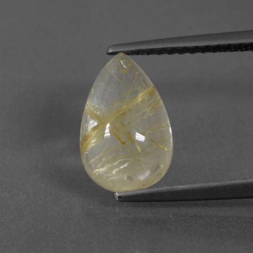 Earthy Yellow Rutile Quartz Gem - 2.6ct Pear Cabochon (ID: 436551)
