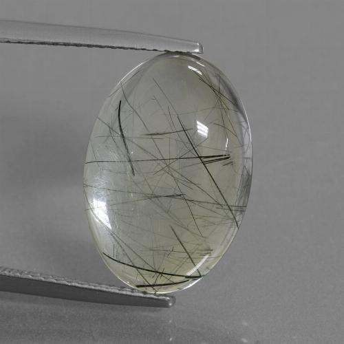 Colorless with Green Rutile Quartz Gem - 10.2ct Oval Cabochon (ID: 439080)