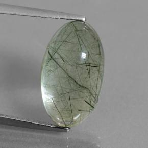 Colorless with Green Rutile Quartz Gem - 8.6ct Oval Cabochon (ID: 439302)