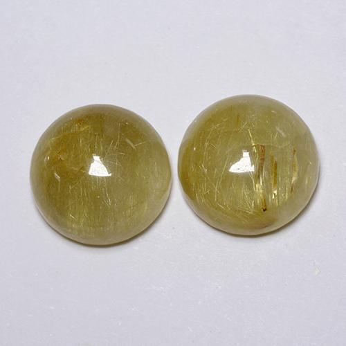 Yellow Rutile Quartz Gem - 5.3ct Round Cabochon (ID: 443384)
