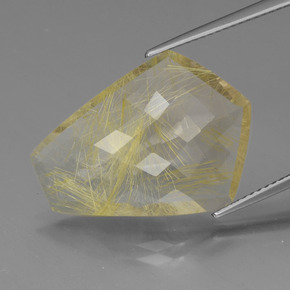 thumb image of 12.7ct Shield Checkboard Colorless Golden Rutile Quartz (ID: 443464)