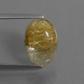 Medium Gold Rutile Quartz Gem - 5ct Oval Cabochon (ID: 446566)