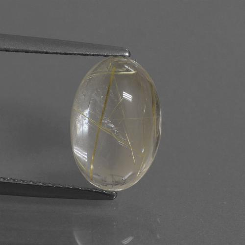 Very Light Golden-Brown Rutile Quartz Gem - 3.3ct Oval Cabochon (ID: 446716)