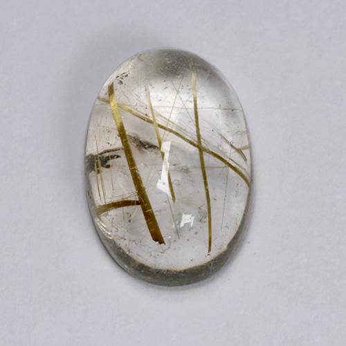 Colorless with Multicolor Rutile Quartz Gem - 6.4ct Oval Cabochon (ID: 446754)