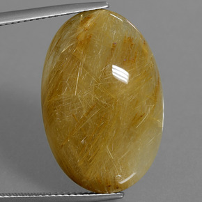 22.1ct كابوشون بيضاوى Golden-Yellow كوارتز روتيل حجر كريم (ID: 448741)