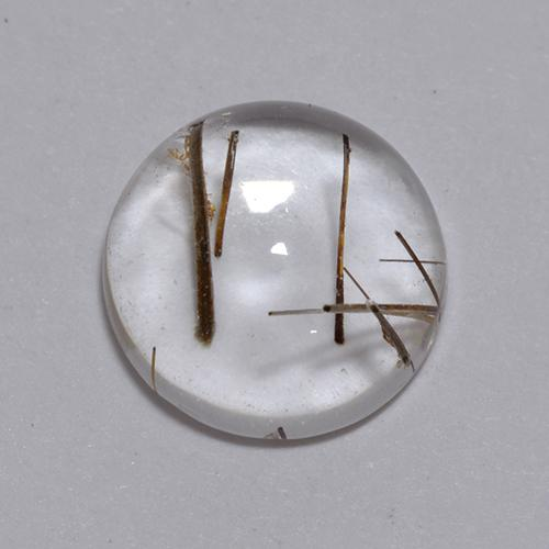 Colorless with Red Rutile Quartz Gem - 2.8ct Round Cabochon (ID: 448793)