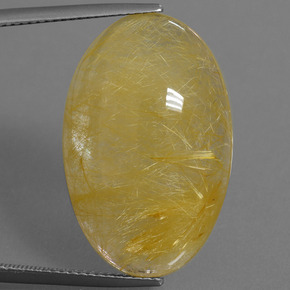 Colorless Golden Rutile Quartz Gem - 23.4ct Oval Cabochon (ID: 448812)